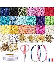 Ismadistri, parelset, elastische armband, voor het maken van kindersieraden, Heishi-parels, sieradenset, mode-accessoires, oorbellen, armband met platte parel.