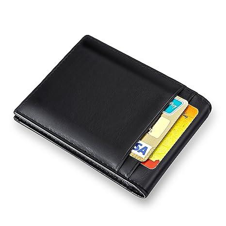 MPTECK @ Negro Cartera Clip de Dinero Billetera Hombre Billetero Tarjetero para Hombre RFID Bloqueo Slim
