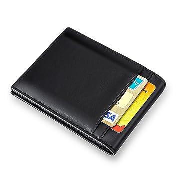 MPTECK @ Negro Cartera Clip de Dinero Billetera Hombre Billetero Tarjetero para Hombre RFID Bloqueo Slim Estilo Plegable Monedero Billetera de PU Cuero con ...