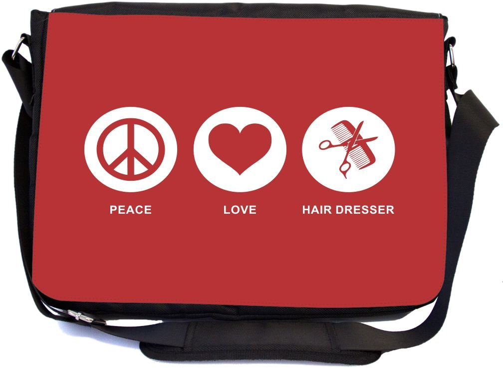Rikki Knight Peace Love Hair Dresser Red Color Design Multifunctional Messenger Bag - School Bag - Laptop Bag - with padded insert for School or Work - Includes Matching Compact Mirror free shipping