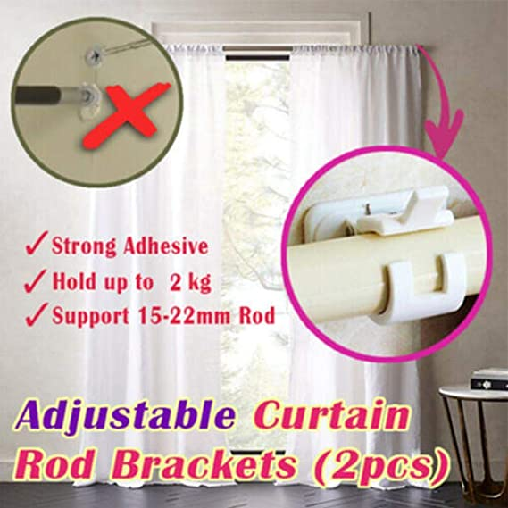 Nail-free Adjustable Rod Bracket Holders 2Pcs //1 Box