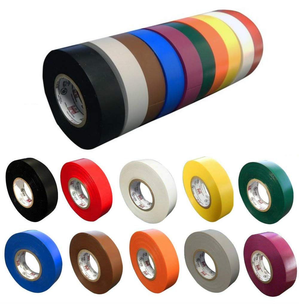 10 Pack: Colored Electrical Tape by Morris Products, 10 ...