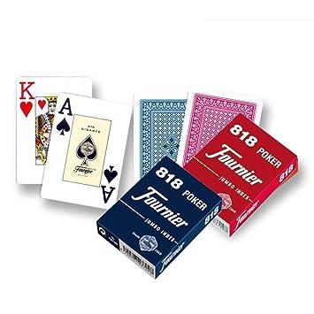 Pack de 2 barajas de Poker Fournier. 55 cartas. Alta calidad. 1 roja y 1 azul
