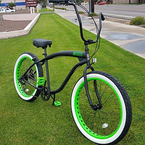 SIKK 3.0 Wide Ride Beach Cruiser Bicycle 7 Speed Flat Black Green ()
