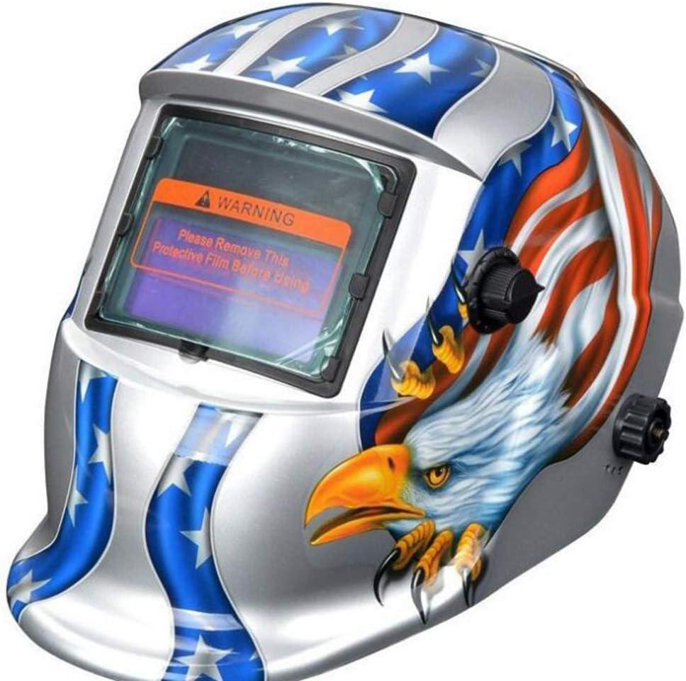 Máscara de soldar de atenuación automática solar DIN4 / 9-13 Máscara de soldadura con protección contra la radiación, Aislamiento térmico/Transpirable/Ligero/Seguro No tóxico (color : F)