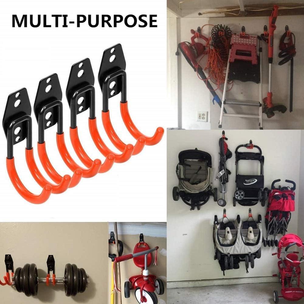 soporte de pared para garaje 4 unidades SUNWAN Ganchos de garaje de acero resistente para organizar herramientas el/éctricas