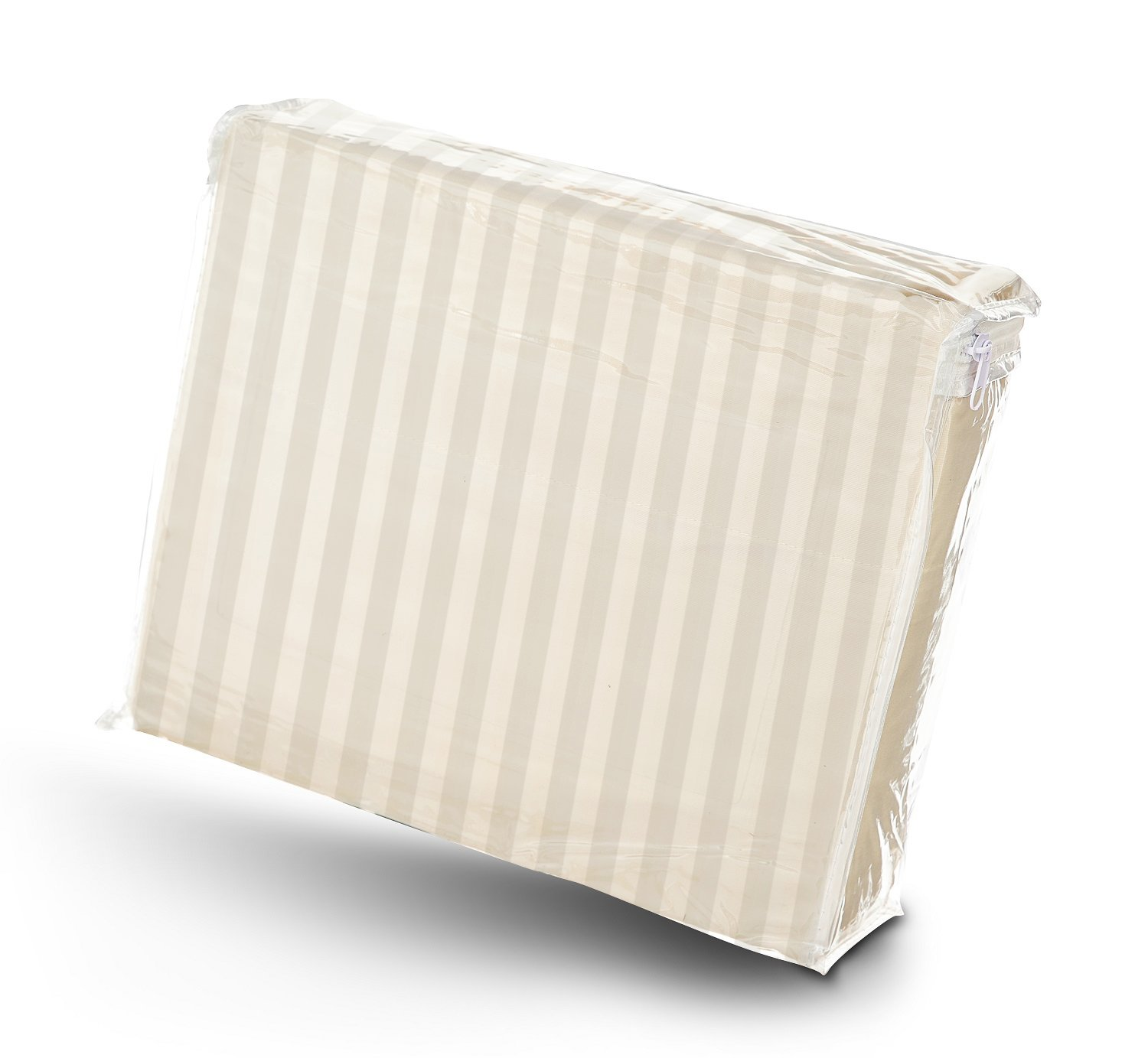 Twin Size 400 Thread Count 100% Cotton Sateen Dobby Stripe Sheet Set -Beige by London Home