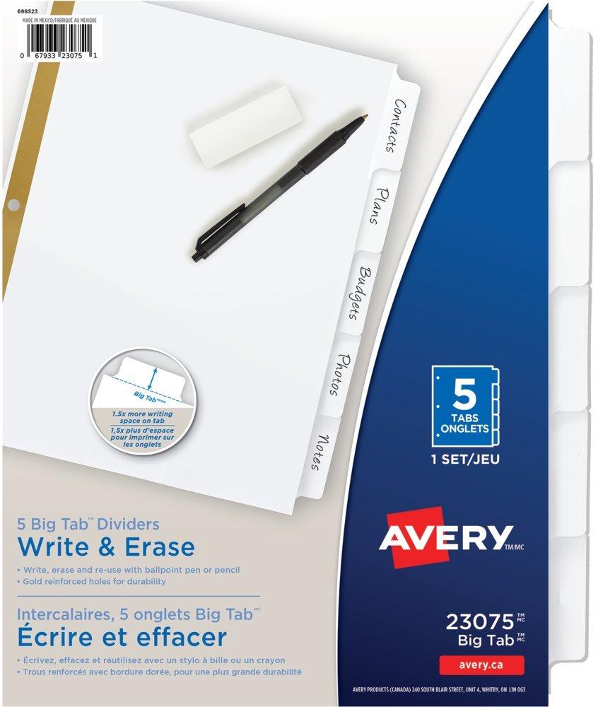Avery Big Tab Write-On Dividers, 5 tabs, White, 1 Set, (23075) 67933230751