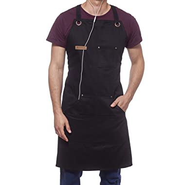 ARAWAK BRAVE Professional Cooking Apron Chef Designed for Kitchen BBQ Grill / 10 OZ Black Cotton for Women and Men Bib Adjustable/Towel Loop + Quick Release Buckle + Tool Pockets + Headphones Loop