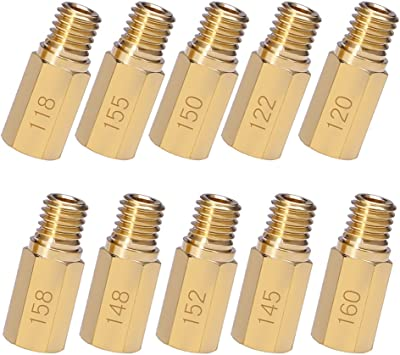 10 pcs Carburetor Main Jet Nozzle Kit Replacement for Keihin OKO KOSO PE PWK with Available Size 118,120,122,145,148,150,152,155,158,160
