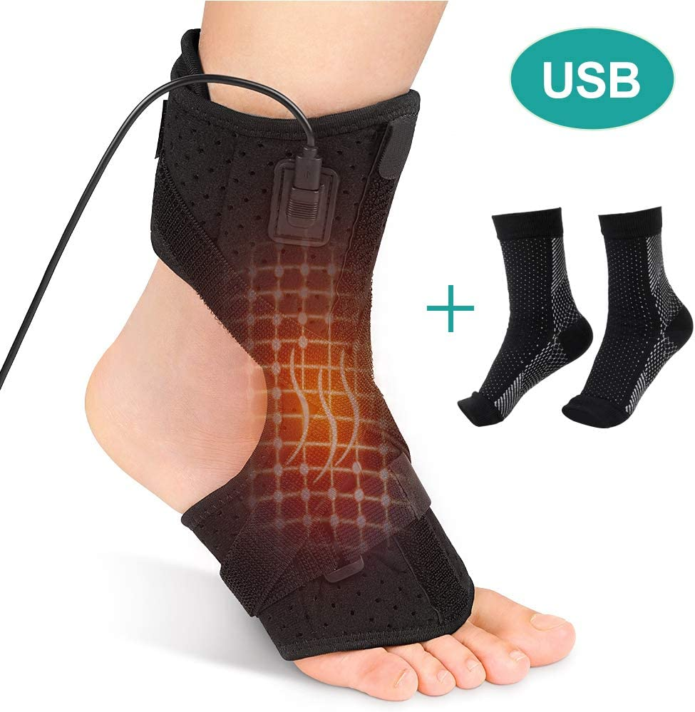 Plantar Fasciitis Support Brace with 1 Pair Compression Foot Sleeves, Heated Therapy Night Splint Achilles Tendonitis Foot Heating Pad for Arthritis, Sprains, Strains, Heel Spur, Torn Tendons