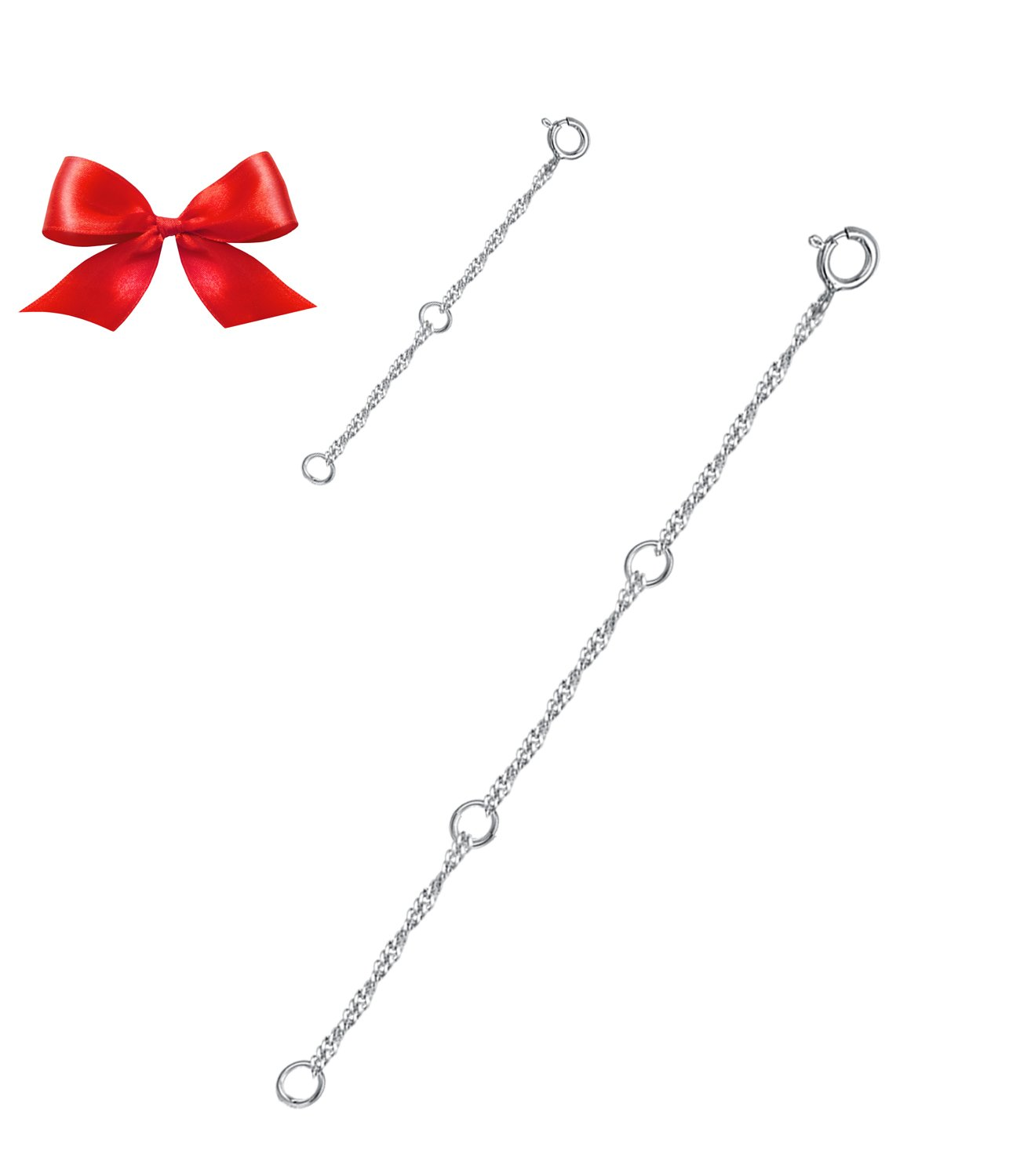 Elda& Co Sterling Silver Necklace Bracelet Extender Chain Set include 2pcs Different Length:4 and 2 CHTS002-4