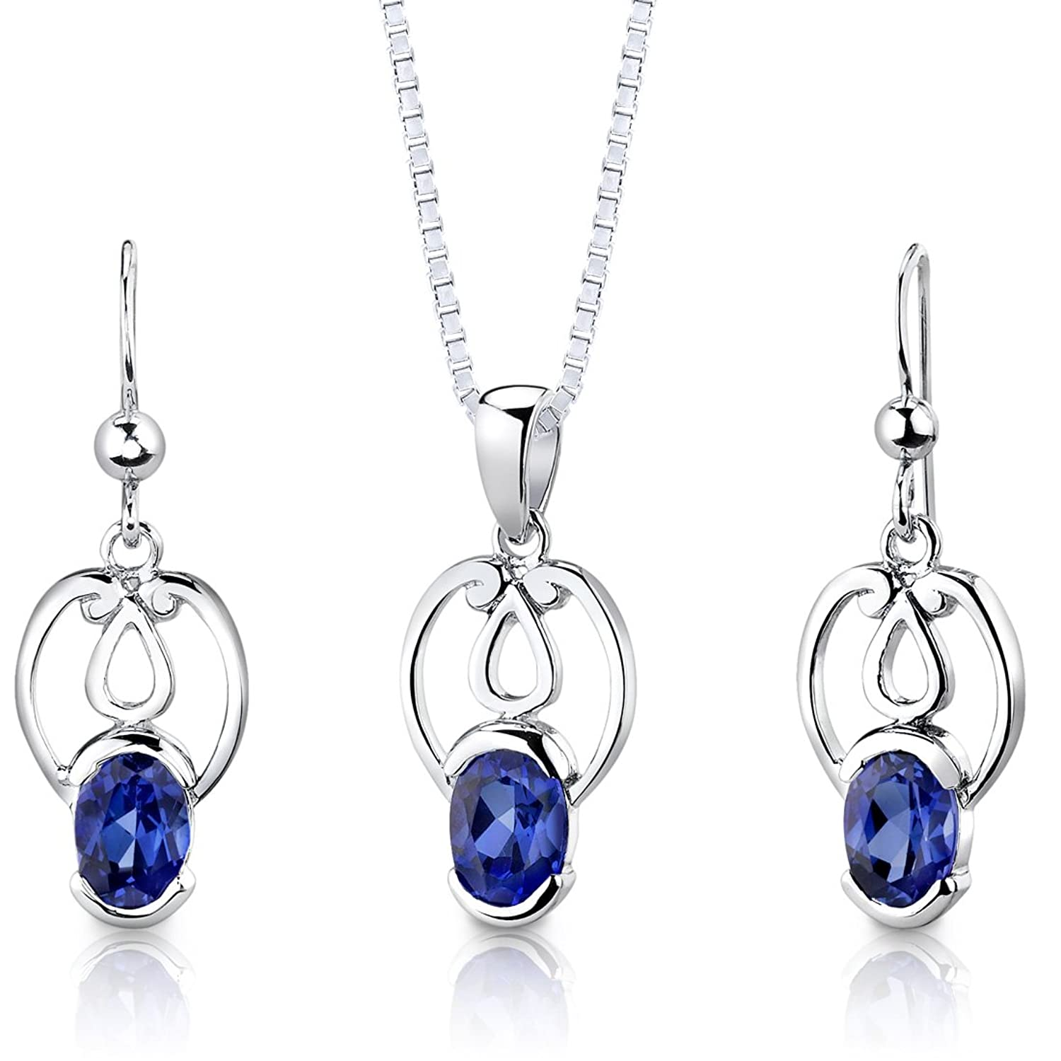 Created Sapphire Pendant Earrings Necklace Sterling Silver Rhodium Nickel Finish Oval Cut 2.25 Carats