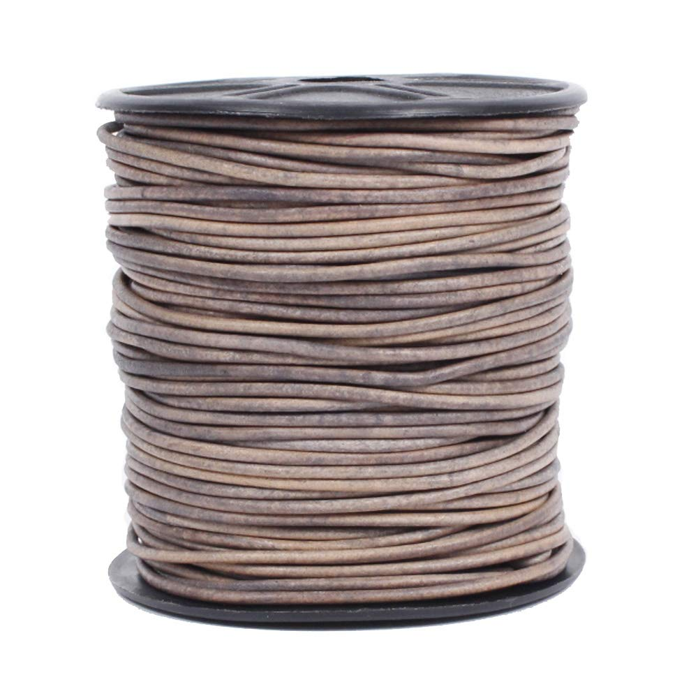 Leather Cord USA Premium Round Leather Cord, Genuine Leather, 2mm, 50 Meter (54 yd) Spool, Splice Free, Ideal for Jewelry (424 Natural Grey)
