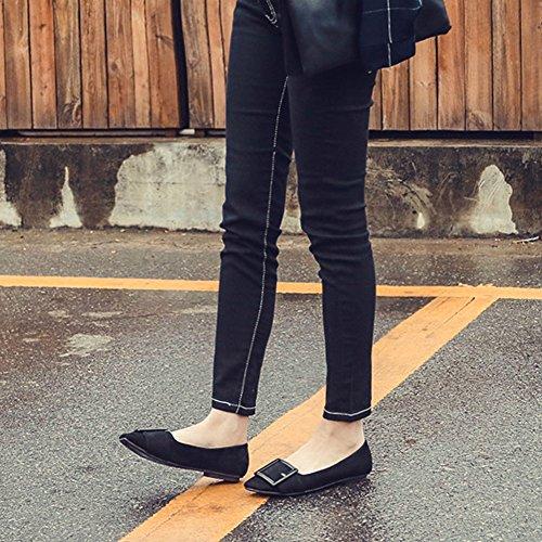 T-july Femmes Mocassins Appartements Classique Orteil Confort Slip Sur La Semelle En Caoutchouc Robe Chaussures Noir
