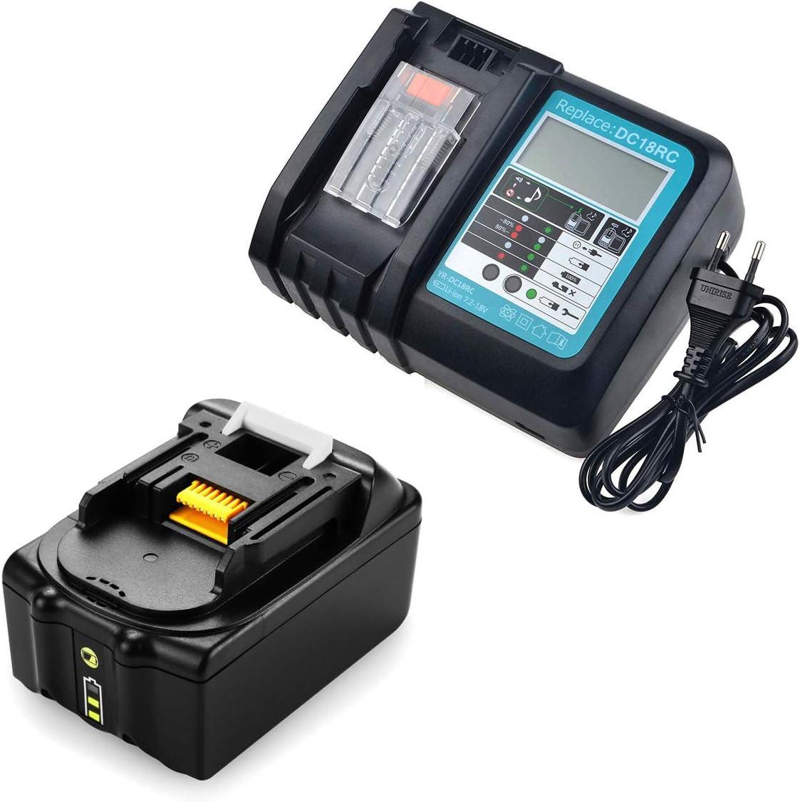 18V 5,0Ah BL1850B Bater/ía con Cargador DC18RC Makita Reemplazo para Makita BL1850 BL1850B BL1860B BL1840 BL1830 BL1815 194204-5