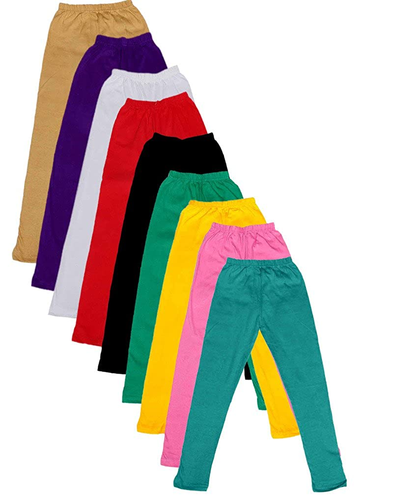 -Multiple Colors-1-3 Years Pack of 9 Indistar Little Girls Cotton Full Ankle Length Solid Leggings