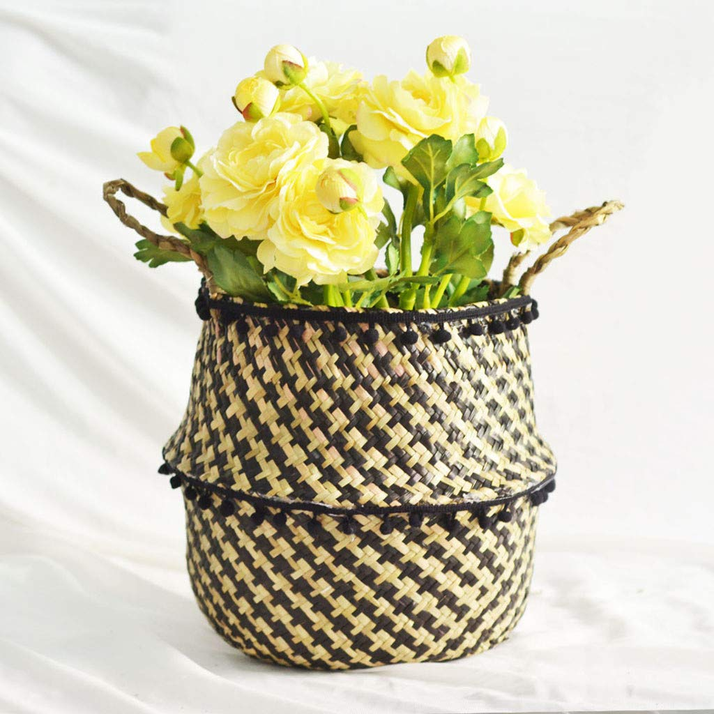 IEasⓄn _Home Kitchen,Woven Seagrass Belly Basket for Storage Plant Pot Basket and Laundry, Basket Storage Decoration Folding Basket (A) by IEasⓄn _Home Kitchen (Image #4)