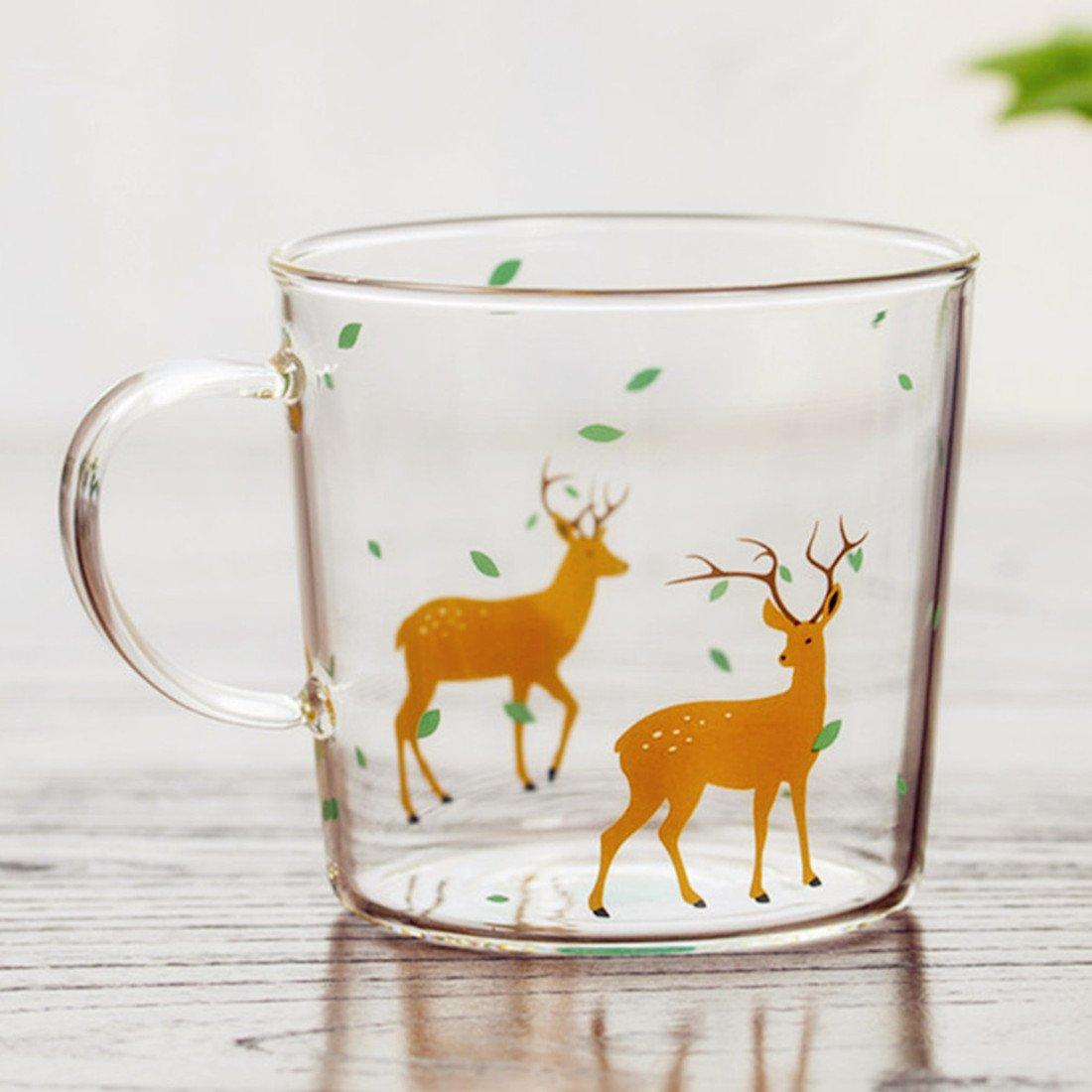 Deer Printed Glass Mug with Handle,Cute Animal Borosilicate Glass Cups Drinking Tea, Latte, Espresso, Juice,Milk,By Mr.Mug & Ms.Cup (310ml,10.1OZ)
