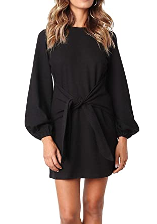 30b55866bf1fe Kesujin Women s Casual Puff Long Sleeves Black Crew Neck Tie Knot Elegant  Mini Dress