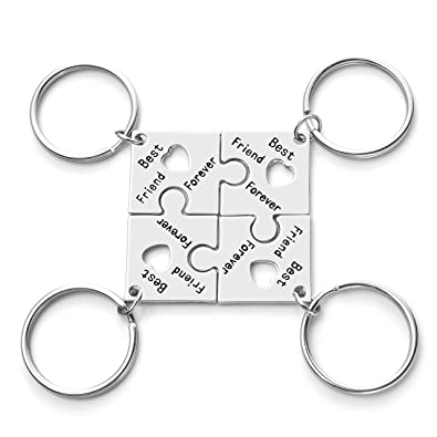 JOVIVI Amistad 4 Puzzle llavero con grabado