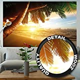 Sandy beach at sunset photo wallpaper – paradise with palm trees and the ocean mural – XXL beach wall decoration