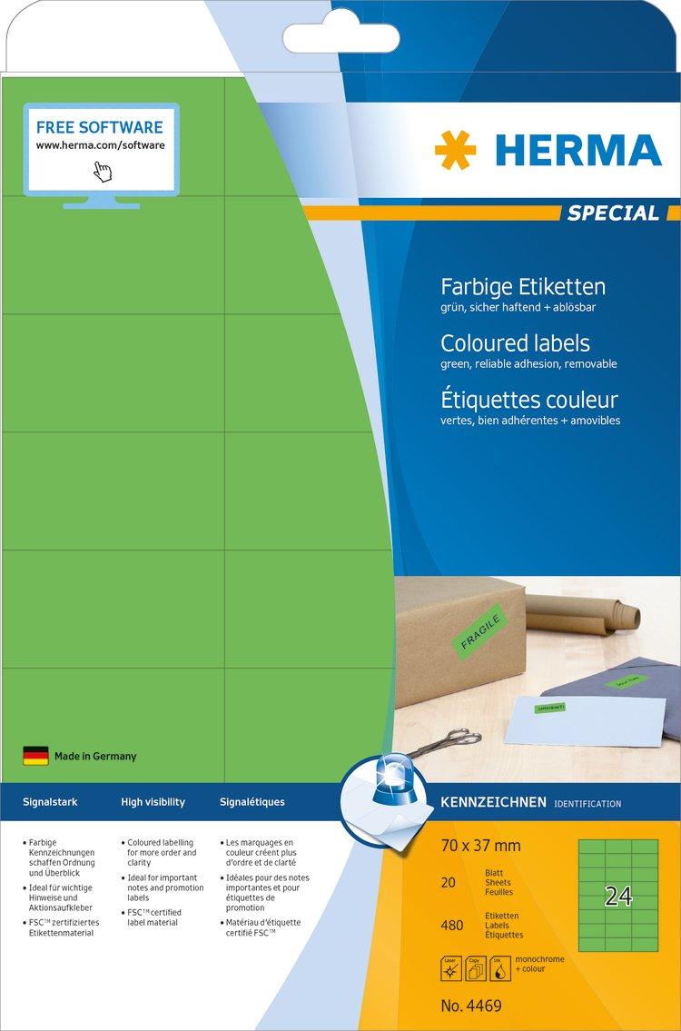 selbstklebend 20 Blatt DIN A4 Papier matt blau bedruckbar Herma 4468 Farbetiketten abl/ösbar 70 x 37 mm 480 Aufkleber