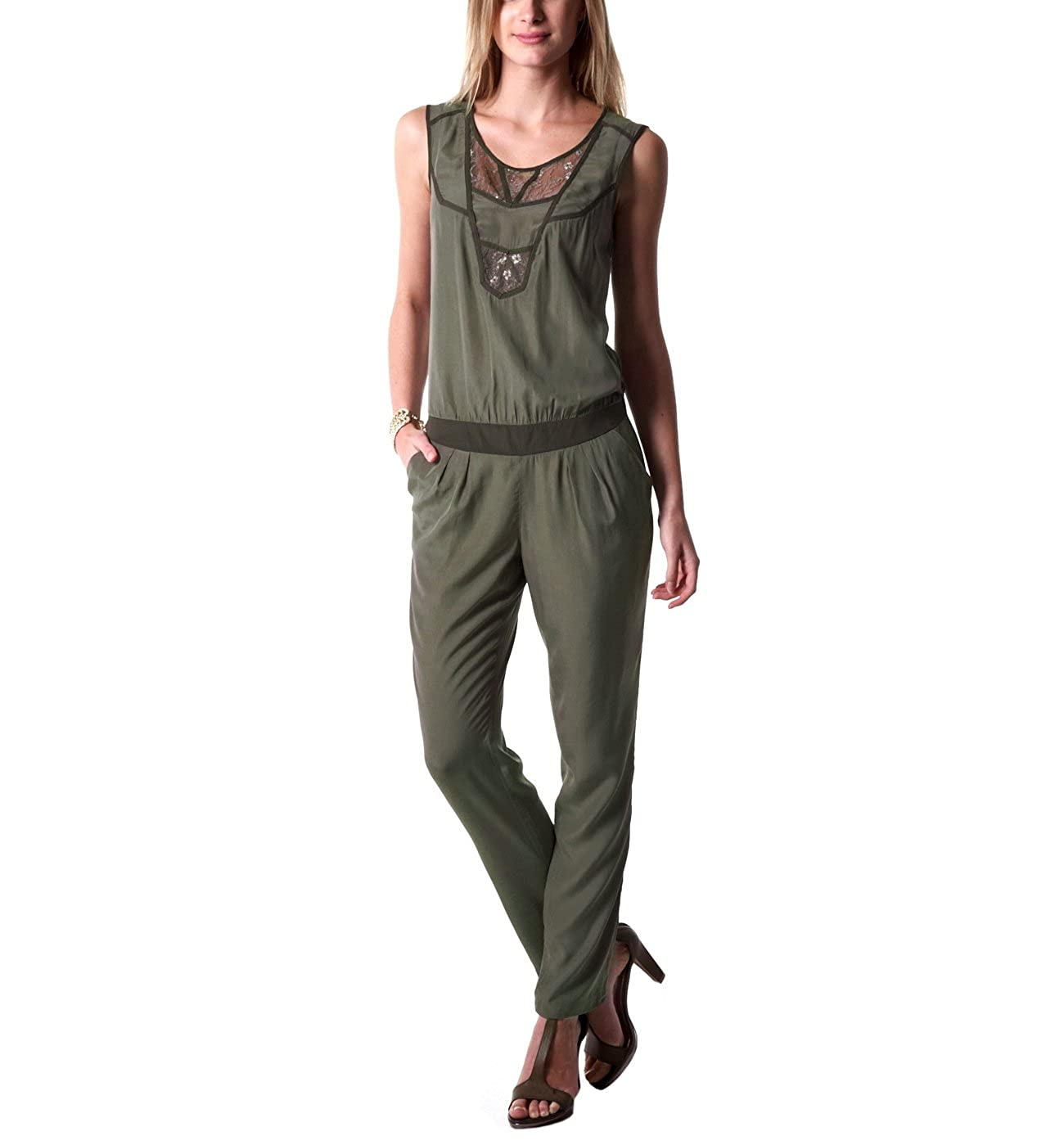 a9dc01aa0e3659 Promod Combinaison-pantalon femme Kaki 40: Amazon.fr: Vêtements et ...