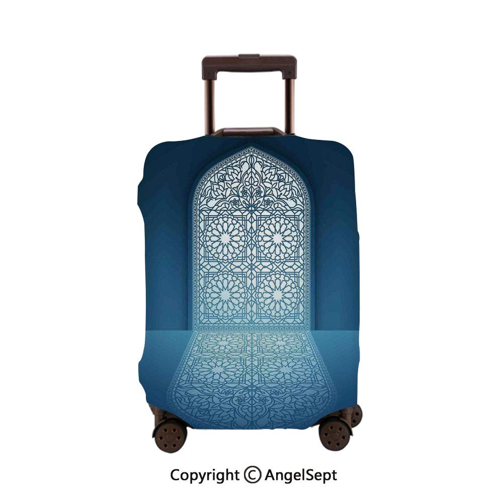 Travel Luggage Cover Suitcase Protector,Doors of Antique Mosque Grace Faith Theme Islamic Ethnic White Turquoise,26x37.8inches,Fashion Luggage Protector Suitcase Cover