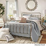 iNSPIRE Q Giselle Graceful Lines Victorian Metallic King-sized Metal Bed by Bold Silver Chrome Finish