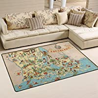 Vintage 1935 Louisiana State Map Playmat Floor Mat For Dining Room Living Room Bedroom,Size 27X18 and 5X33 Available.