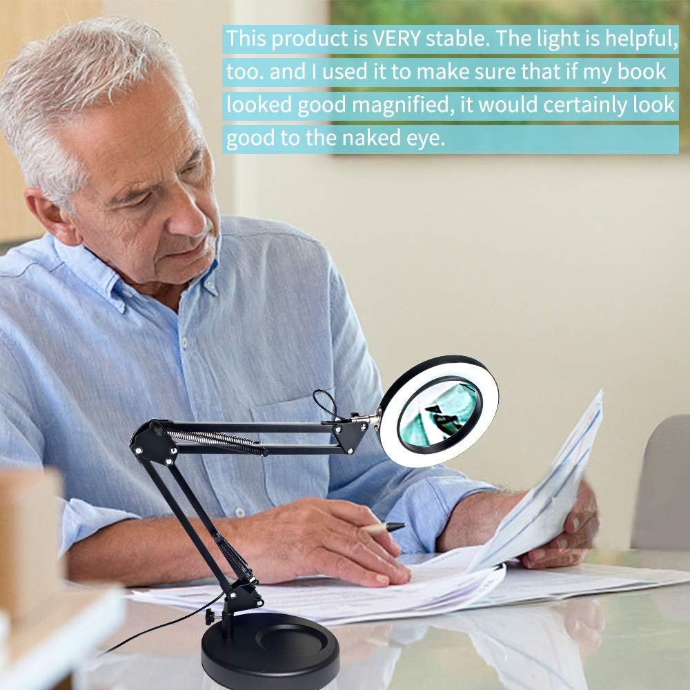 Black Magnifier Desk Lamp Addie 2-in-1 Dimmable Daylight Bright LED Magnifying Lamp with Utility Clamp and Stand Craft 3 Color Modes Magnifier Lighted Glass Lens Swivel Arm Light for for Reading
