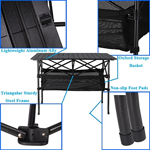Folinstall Picnic Tables with Hammock Style Storage Basket & Carry Bag – Collapsible Tables Supports 154.32 lbs(70 kg)