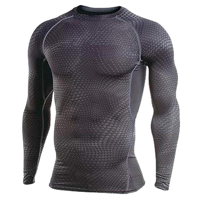 Mymyguoe Hombres Camiseta de Mangas largas Rashguard Camiseta Bodybuilding Piel Tight-Dry Tops Costura Ajustada para Hombres y Ropa Deportiva de Cuello ...