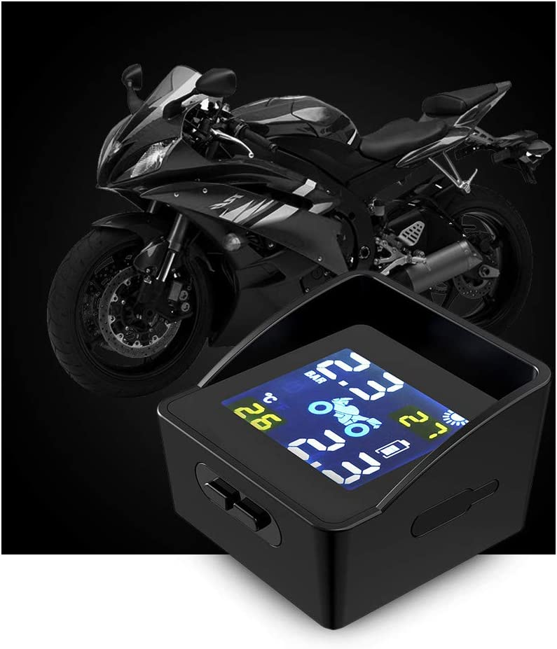 Monland LCD Charge Solaire Moto Moteur Pression des Pneus Pneu Surveillance Surveillance Syst/èMe DAlarme Moteur Pneu Outil avec 2 Capteurs Externes