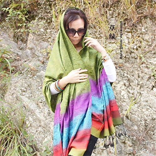 i Day 200cm Dual La Scialle E Primavera Green Rainbow Etnico Cotone purpose Sciarpa Lungo 70cm Zhangyong Turismo Sunscreen Il Verde L'estate Tutti match Femmina Lato Grande RqBZwWfxT