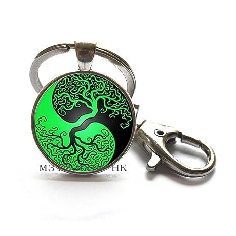 Amazon.com: Yin Yang - Llavero con diseño de árbol de la ...