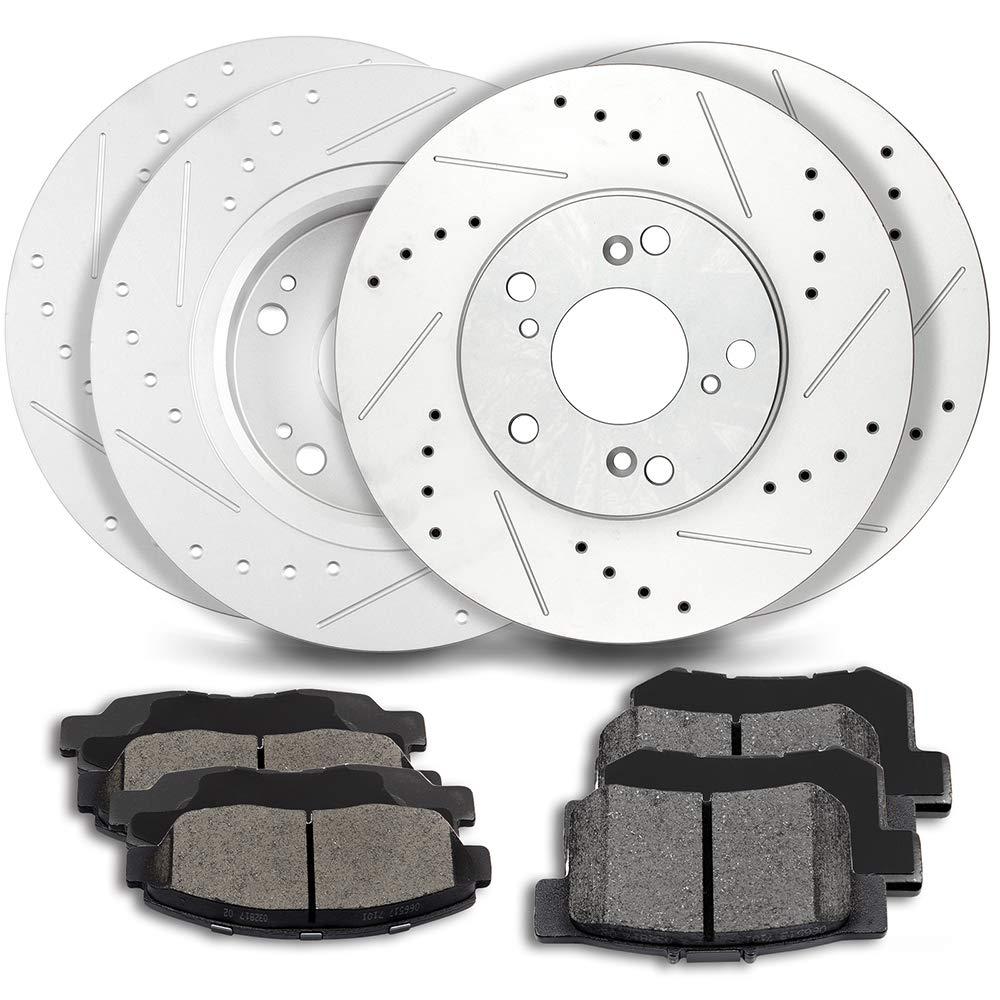 ECCPP 4pcs Front Rear Discs Brake Rotors and 8pcs Ceramic Disc Brake Pads fit for 2006 2007 Honda Accord 2.4L 3.0L LX SE