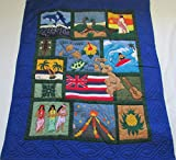 Hawaiian quilt ''Scene Of Hawaii'' crib baby comforter blanket hand quilted and wall hanging
