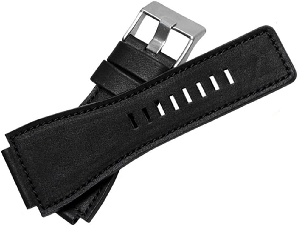 [Richie Sangle] 35Mmx24mm Convexe Bouche Cuir Montre Bandes Boucle Sangle pour Bell Ross Br01/BR03 Black(silver Buckle)
