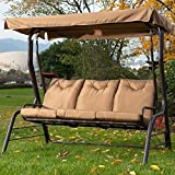 Cheap PatioPost Swing Chair Outdoor Seats 3 Porch Patio Padded Swing Hammock Glider with Steel Powder Coated Frame, Brown