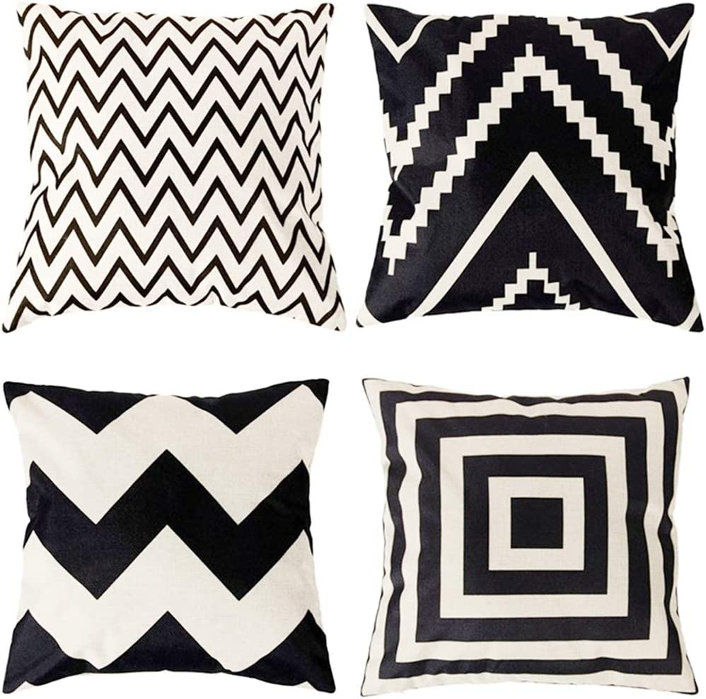 Soft Microfiber Pillowcase Set Home Brilliant Decor Pillow Covers Decoration Supersoft Striped Velvet Corduroy Decorative Throw Toss Pillowcases Cushion Cover for Girls, 4 Packs