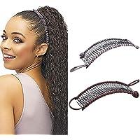 2 stycken Vintage banan hårklämmor Elastiskt hår tillbehör 30 tandkam sklämmor för tjockt vågigt kinkigt naturligt…