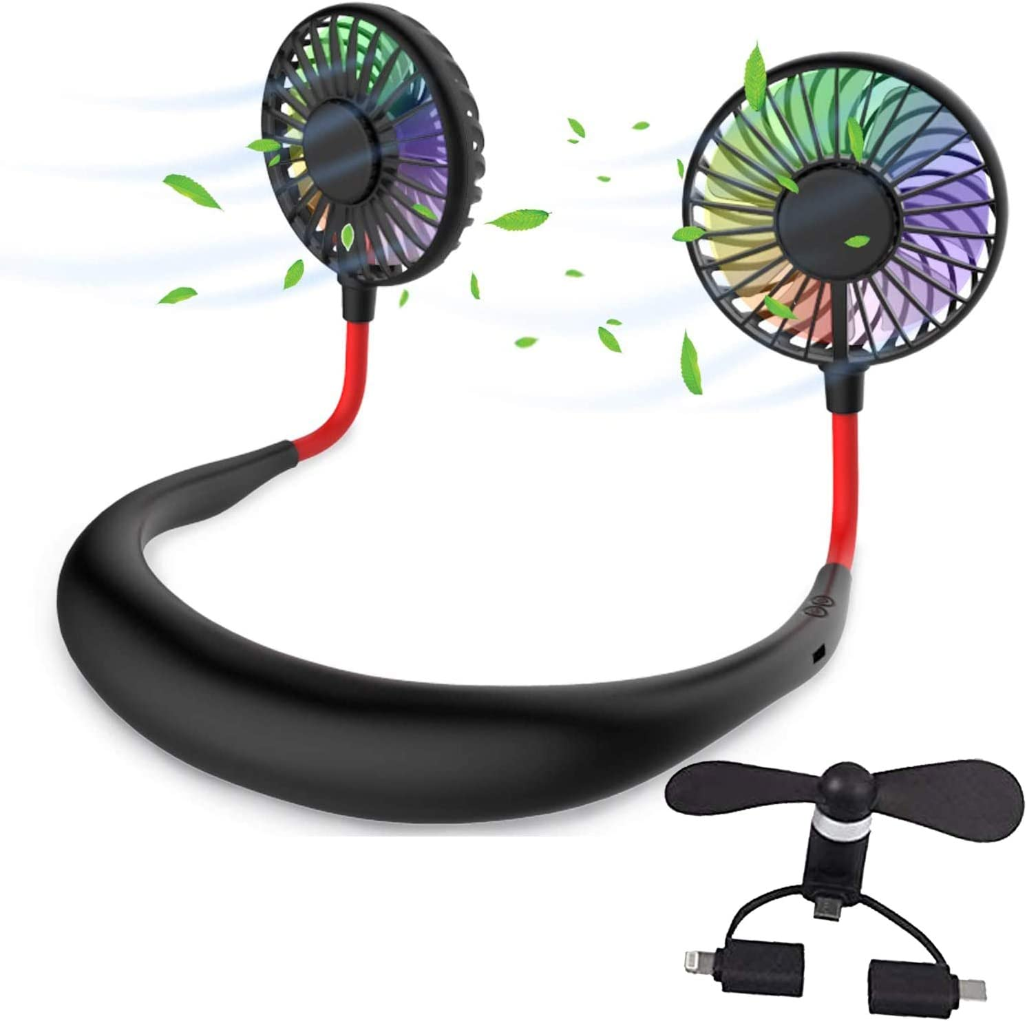 Hands Free Portable Neck Fan with Mini Phone Fan 2000mAh Rechargeable Personal Fan Battery Operated Fan 3 Speeds 360 Degree Adjustable for Office Home Travel Indoor Outdoor