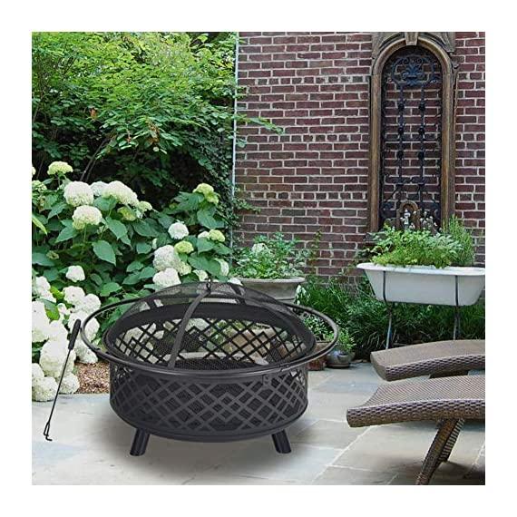 """PHI VILLA 32"""" Fire Pit Large Steel Patio Fireplace Cutouts Pattern with Poker & Spark Screen - ❤32"""" Fire Pit With Screen: Measures Dia.32"""" x H19.7"""". Approx 25 pounds. Lightweight and portable to move by catching the iron ring around ❤Spark Guard/Poker/Steel Net: Heavy-gauge spark screen protects you and your guests from sporadic flames and embers, offering an extra layer of safety. The poker helps you remove the spark screen and move logs more easily. Additional steel net is included to support the wood and let the air in beneath ❤Deep Steel Bowl: Large, deep-drawn steel bowl accommodates large fires for added warmth and convenience. Stable steel construction and heat-resistant painting keep the fire pit long lasting. Decorative lattice design cutouts for better flame visibility - patio, outdoor-decor, fire-pits-outdoor-fireplaces - 61wqS3cuveL. SS570  -"""