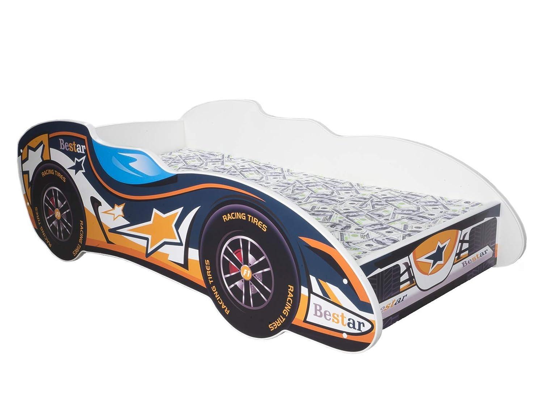 TODDLER CHILDREN KIDS BED INCLUDING MATTRESS CAR F1 140x70 (BLUE BIRD) Topbeds