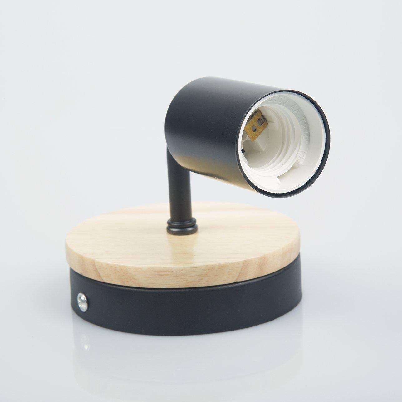 blanco OYGROUP Moderno creativo de madera Vintage l/ámpara de pared de hierro forjado E27 40W de montaje en pared l/ámpara de cabecera de luz de lectura para dormitorio Sal/ón