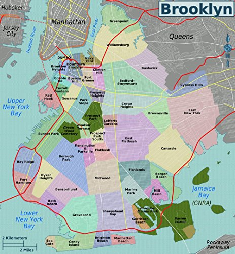 Gifts Delight Laminated 24x26 Poster: Brooklyn Neighborhoods map (New York Neighborhood Map)