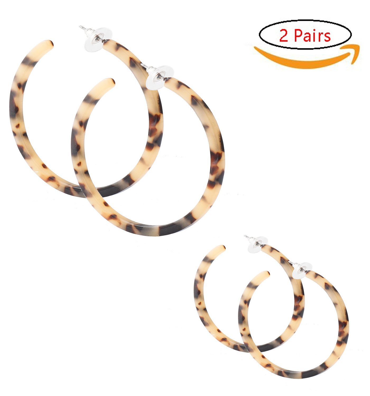 PHALIN JEWELRY Acrylic Earrings Hypoallergenic Resin Hoop Earrings Set for Women and Girls