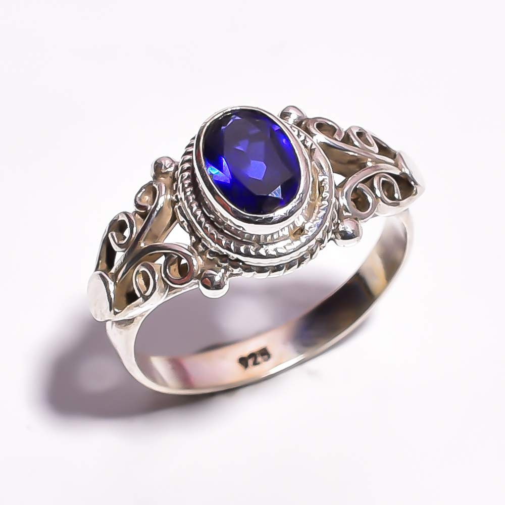 mughal gems /& jewellery 925 Sterling Silver Ring Natural Tanzanite Gemstone Fine Jewelry Ring Size 5.5 U.S